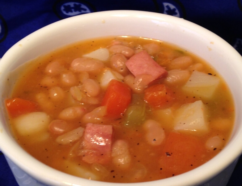 Ham Stock, Applesauce, and Bean Soup